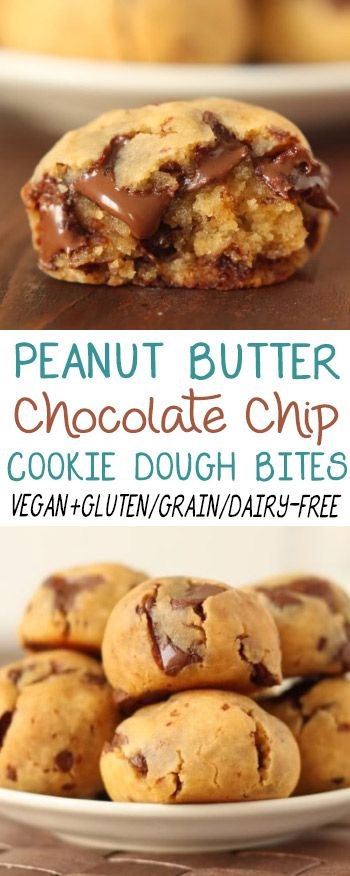 The original peanut butter chocolate chip cookie dough bites with a secret ingredient nobody can detect! Gluten/grain/dairy-free with a vegan option.