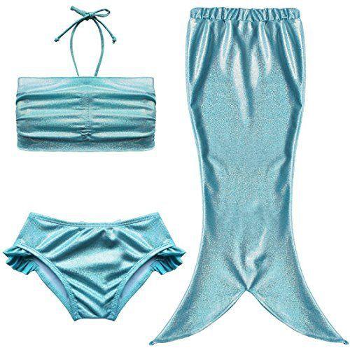 Maillot de Bain Sirène 3 Pièce – LATH.PIN 3 Pièce Maillot de Bain Sirène Déguisement pour Bébé Enfant Fille-Top+Short+Jupe(Bleu Taille 120)…