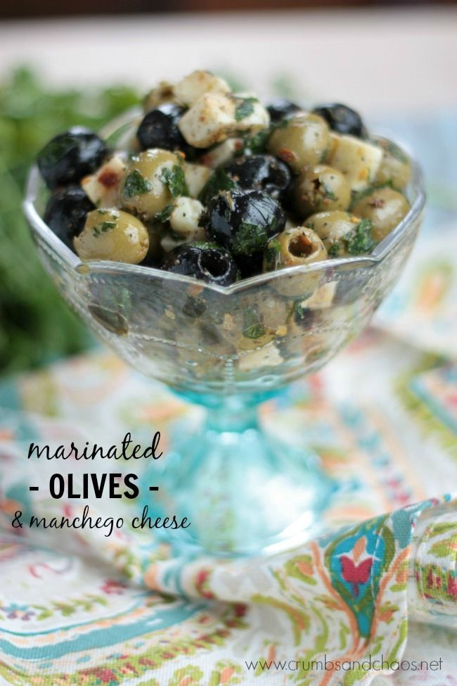 Marinated Olives & Manchego Cheese | recipe on Crumbs and Chaos