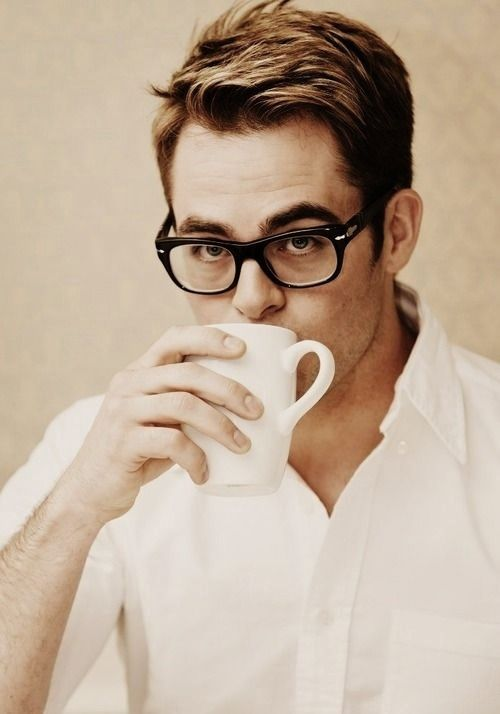 Chris Pine, glasses, crisp white shirt... Perfection…