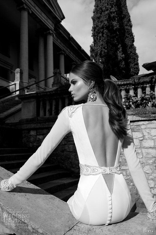 berta fall winter 2014 long sleeve wedding dress back