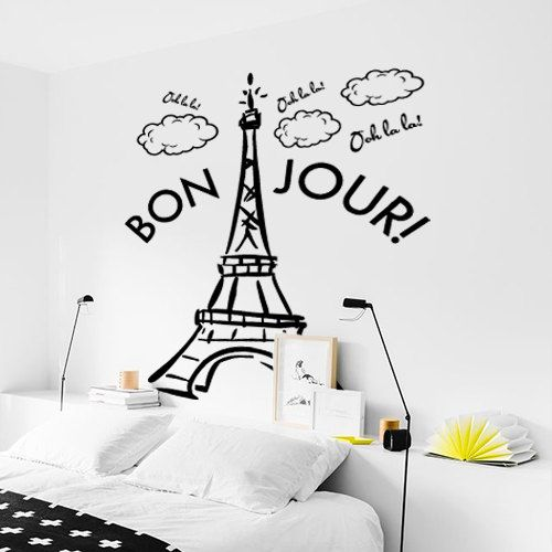 Interior Wall Decal Vinyl Sticker Decor Sign Paris Mural France The Eiffel Tower City World Bedroom cloud Bonjour hello quote gift