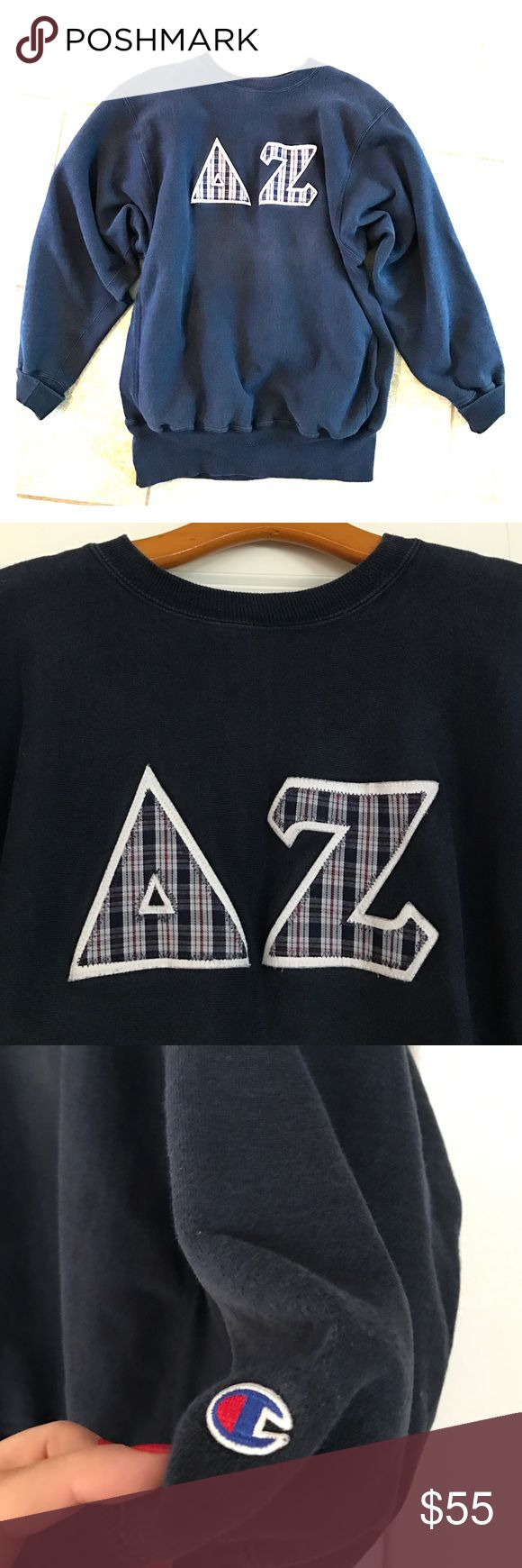 XL Cozy Delta Zeta DZ Hoodie! Over sized, comfy. Pre-owned. No major flaws.  Letters are navy blue, red, and white. Champion Tops Sweatshirts & Hoodies