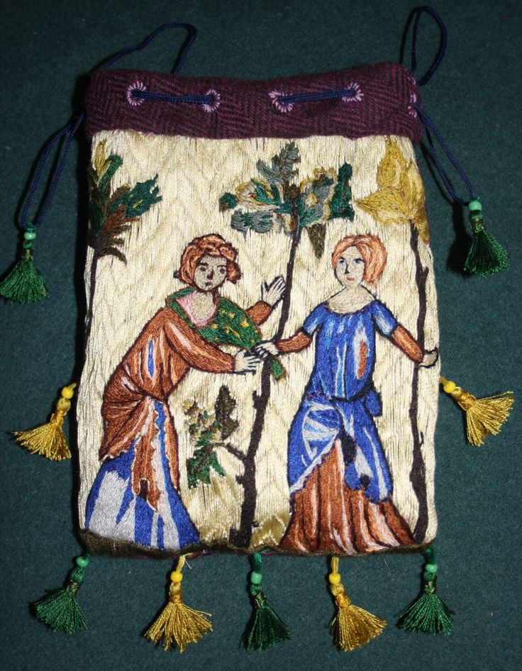 Opus anglicanum. Parisian purse 1340, Museum fur Kunst und Gewerbe Hamburg. Lovers playing a game with a hood in a garden.