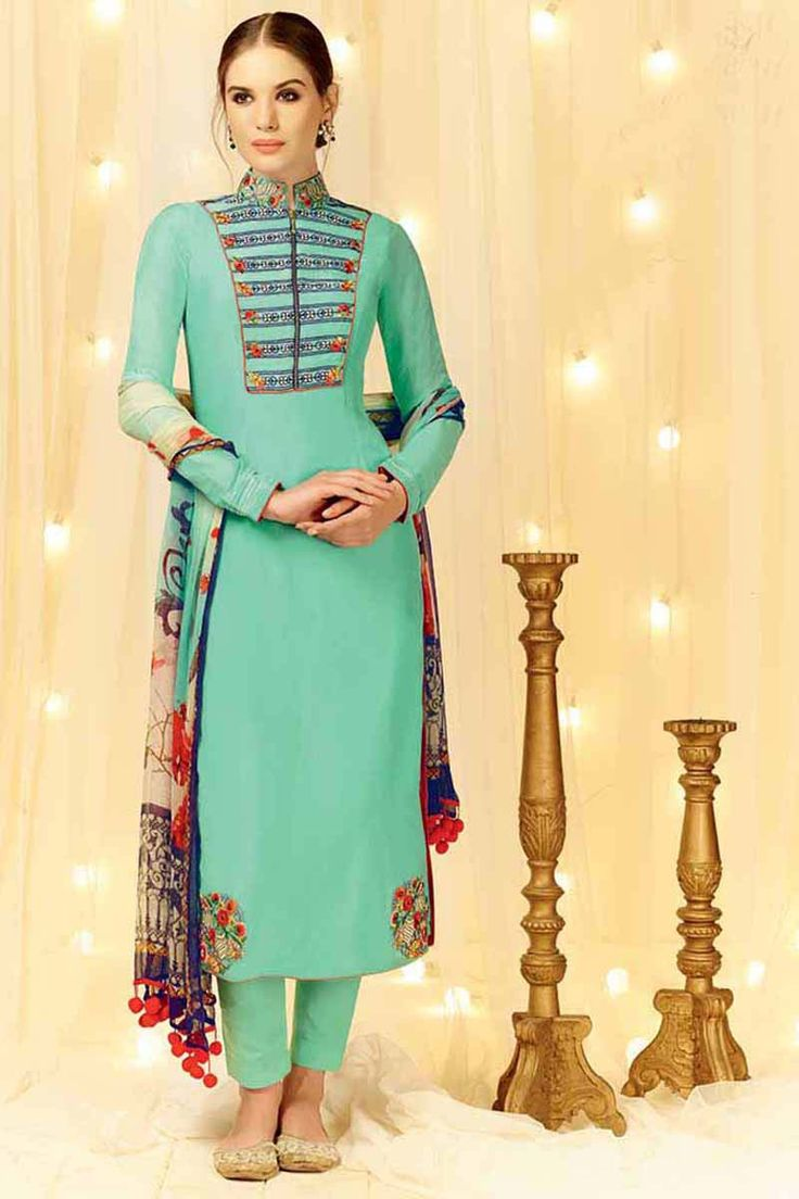 Blue Cotton Party Wear Salwar Kameez