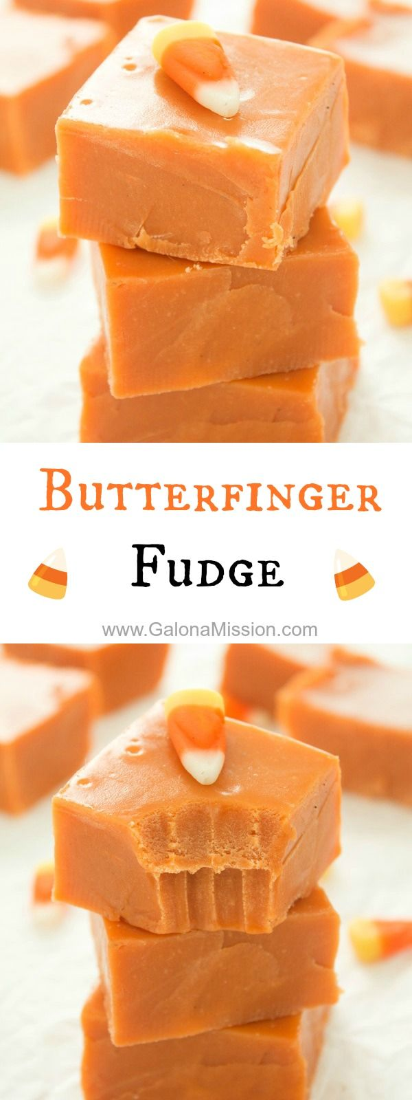 Butterfinger Fudge (Ingredients: Sweetened Condensed Milk, Candy Corn, Peanut Butter & White Chocolate Chips.) (This is not your typical fudge, it's even better! You'll fall in love with this delicious butterfinger fudge!) l Gal on a Mission