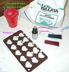 Occorrente:  Gesso (2 parti)  Acqua (1 parte)  Essenza profumata  Coloranti (facoltativo)  Unire tutto e mettere negli stampini.  In meno di...