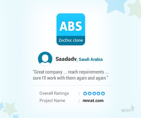 "A word from Saadadv for Agriya's ‪#‎AppointmentBooking‬ Script - ‪#‎zocdoc‬ Clone  ""Great Company... reach requirements...sure i'll work with them again and again"" ‪#‎agriya‬ ‪#‎review‬  For more reviews, Check out: https://www.agriya.com/testimonials-and-reviews"