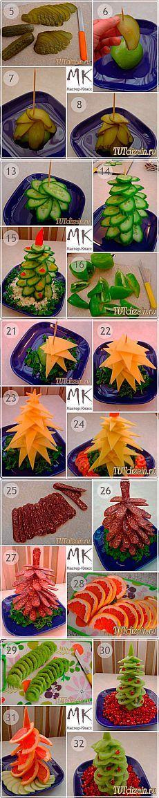 Оригинальное  для новогоднего стола – «Елочки из овощей и фруктов».