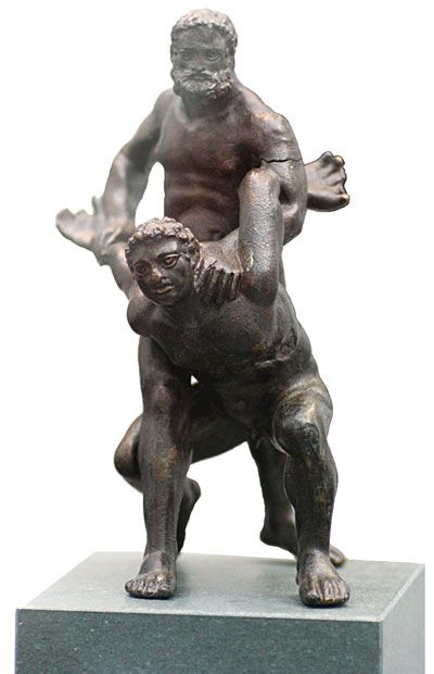 "Pankration - From Greece: meaning ""all powerfull"" - a mixed martial art of ancient Greece that was first introduced into the Olympic Games in 648 B.C., at the 33rd Olympiad. The art was founded as a blend of boxing and wrestling but with almost no rules save disallowing biting and gouging the opponent's eyes out. The term comes from the Greek παγκράτιον [paŋkrátion], literally meaning ""all powers"" from πᾶν (pan-) ""all"" + κράτος (kratos) ""strength, power""."