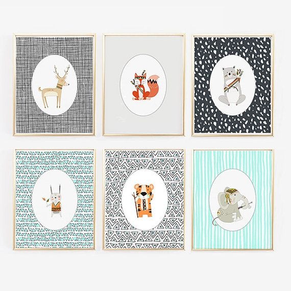 Woodland Animal Prints - Teal, Orange, Gray - Gender Neutral - Hipster Nursery - Woodlands Decor - Bear, Rabbit, Deer, Tiger, Elephant