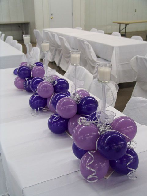 Balloon Centerpieces  LOVE this cute idea!  However, it might give a startle to everyone around if one gets popped...  That sounds like FUN!  This, I am DEFINITELY doing for my reception.