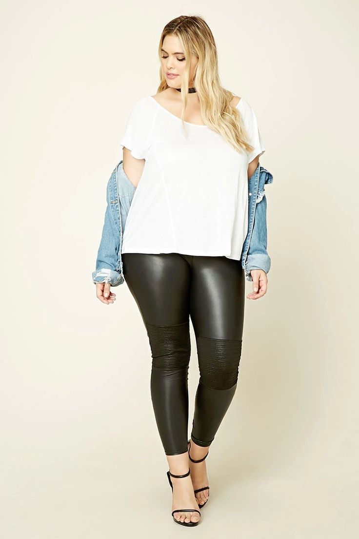 forever 21 a pair of faux leather leggings featuring an