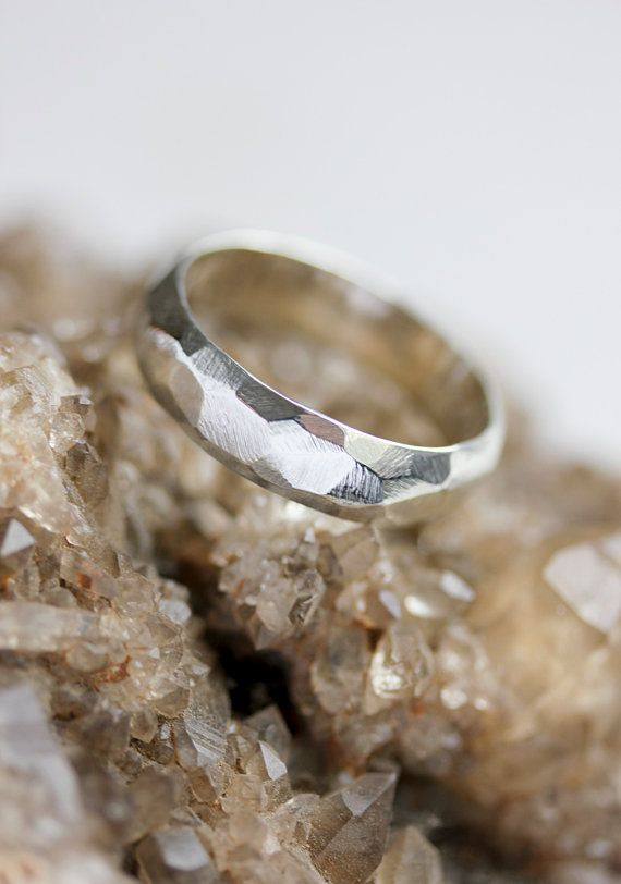 Sterling silver statement ring, silver chunky ring, unisex silver ring, faceted, geometric, mens ring, textured silver ring, modern \\ Belinda Saville