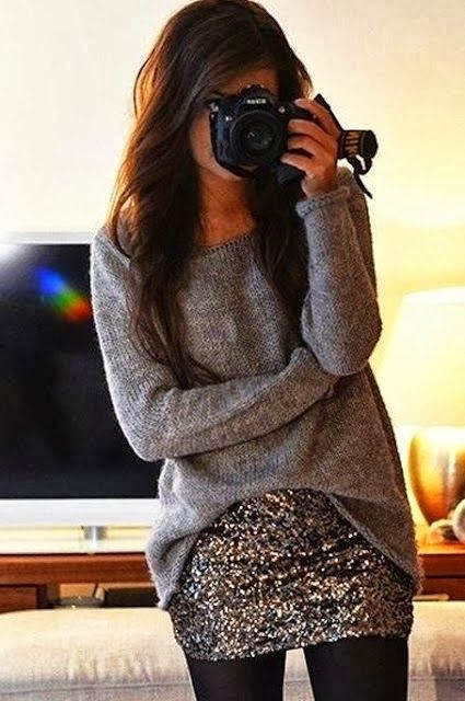 Twinkling skirt and beautiful pullover sweater. Pinned by http://pinkp.ad http://stylewarez.com