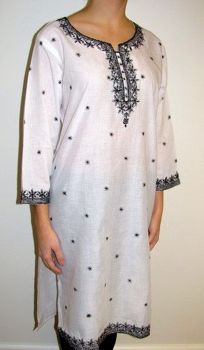 White Long Designer Cotton Tunic on sale at Yours Elegantly. Buy Indian CottonTunic Kurtis on sale and save big. Part of proceeds donated to Womens & Chidlren's Welfare Organizations. Shop the Cotton tunics for women XS to 4X on sale.