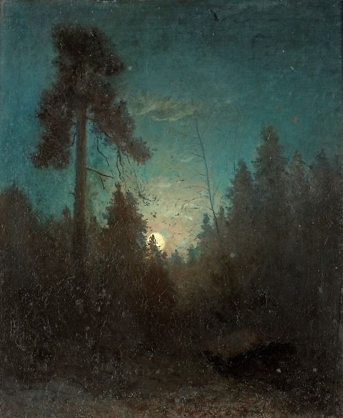Carl Fredrik Hill ~Tall pine and rising moon