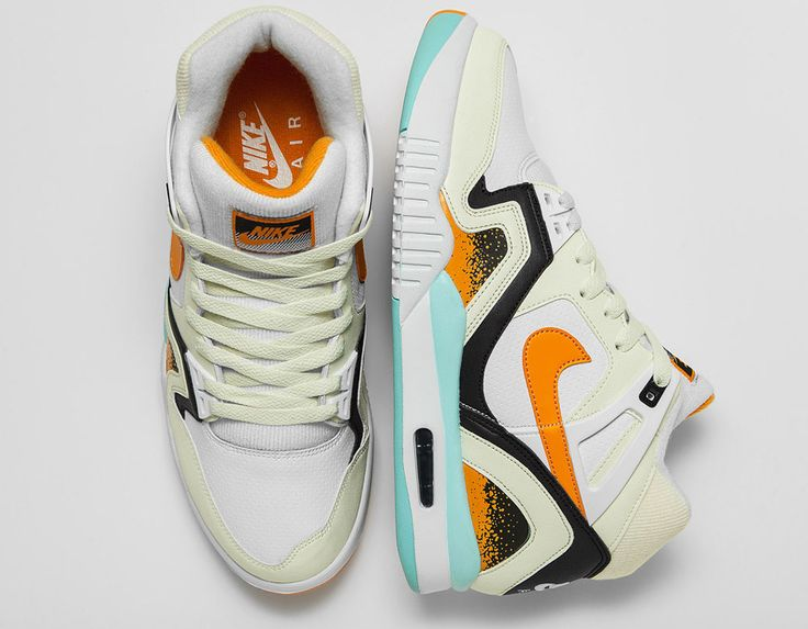 The Nike Air Tech Challenge II White/Kumquat releases this summer, a  perfect fit for Agassi's style. A white leather upper sports flashy orange  and teal.