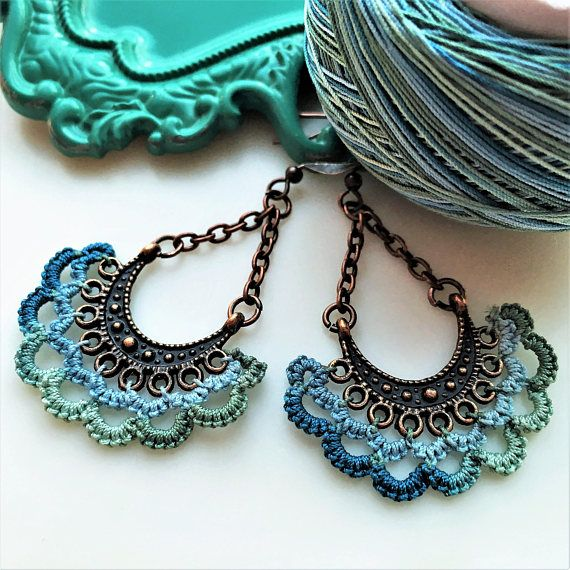 Beach Summer Earrings ~  Sea color turquoise blues accented with antique copper chandeliers ~  A little boho, gypsy, hippie style for a unique jewelry gift.  Customize with your choice of thread colors. Antique silver available.  Necklaces also available.  www.LacyTreasures.Etsy.com www.Facebook.com/LacyTreasuresTatting