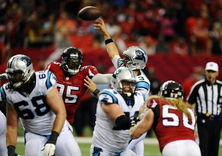 Carolina Panthers quarterback Derek Anderson (3) throws upfield against the Atlanta Falcons during the second half at the Georgia Dome in Atlanta, Ga. on Sunday, October 2, 2016. Atlanta won 48-33.