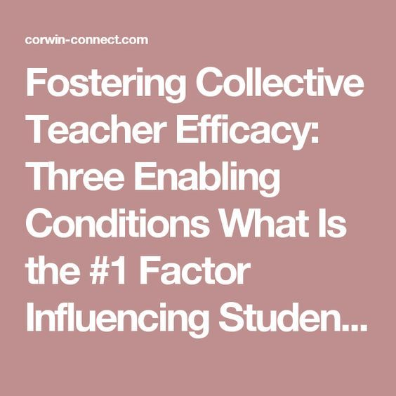 Fostering Collective Teacher Efficacy: Three Enabling