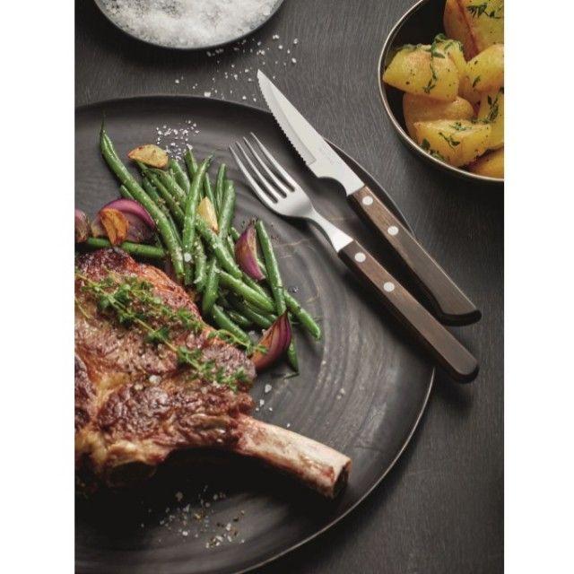 Dishwasher Safe Wooden 6 Steak Knife Set with Stainless Steel Serrated Blades