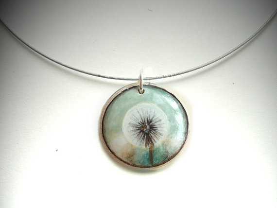 Chic Choker Dandelion Necklace   Hand Painted Jewelry by ARTDORA, $22.00