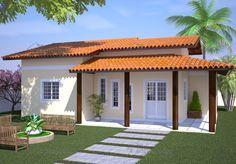 modelos de casas para construir   Planta de Casa Casa com Varanda e 3 Quartos - Cód. 91   So Projetos