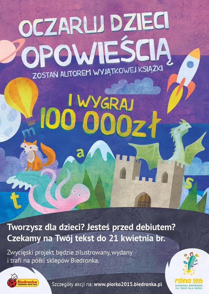 Jeśli jesteś pisarzem amatorem i masz nieograniczoną wyobraźnię, weź udział w konkursie Biedronki i wygraj 100 000 zł! :) http://www.promocyjni.pl/blog/zobacz/7218--piorko-biedronki-czyli-100-000-zl-za-najlepsze-opowiadanie-dla-dzieci