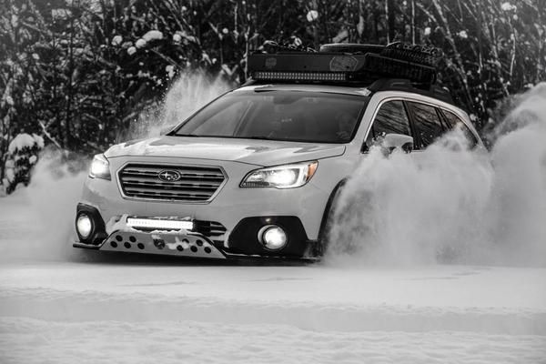 """Make: Subaru Model: Outback 3.6R Limited Package Year: 2017 Color: Crystal White Pearl Modifications: Tires: 245/65R17 BFGoodrich All Terrain T/A KO2 Wheels: Fast Wheels FC-01 17x8+40 - Discontinued Lift kit: 2"""" LP Aventure Skid plate: LP Aventure Bumper Guard: LP Aventure (small model) LED bar: RTXline 31.5"""" (28 800 Lumens) + RTXline 19.9"""" (20160 Lumens) Cargo basket: Yakima Load Warrior + Extension + Spare Tire Carrier Bike Rack: Yakima Boa Accessories: LP Aventure Canister Filter Bypass"""