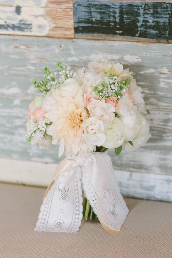delicate blush bouquet of hydrangeas, roses, succulents, dahlias and dusty miller by Blue Lotus