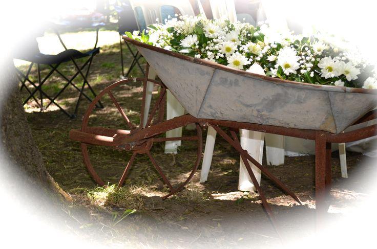 rustic wheelbarrow
