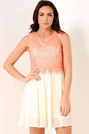 Bronte Lace Overlay Dress in Coral