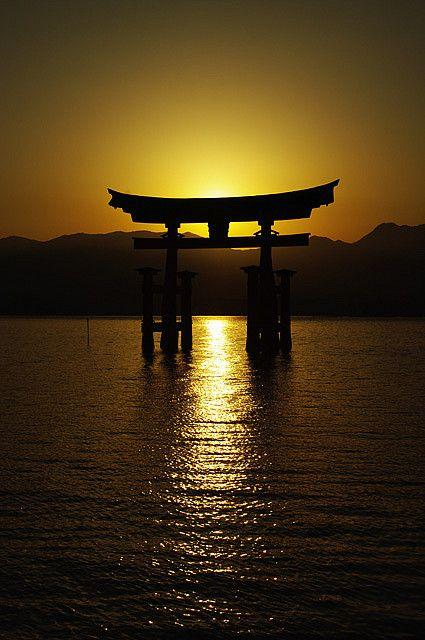 Sunset in Floating Torii Gate, Itsuku-shima Shrine, Miyajima, Hiroshima, Japan