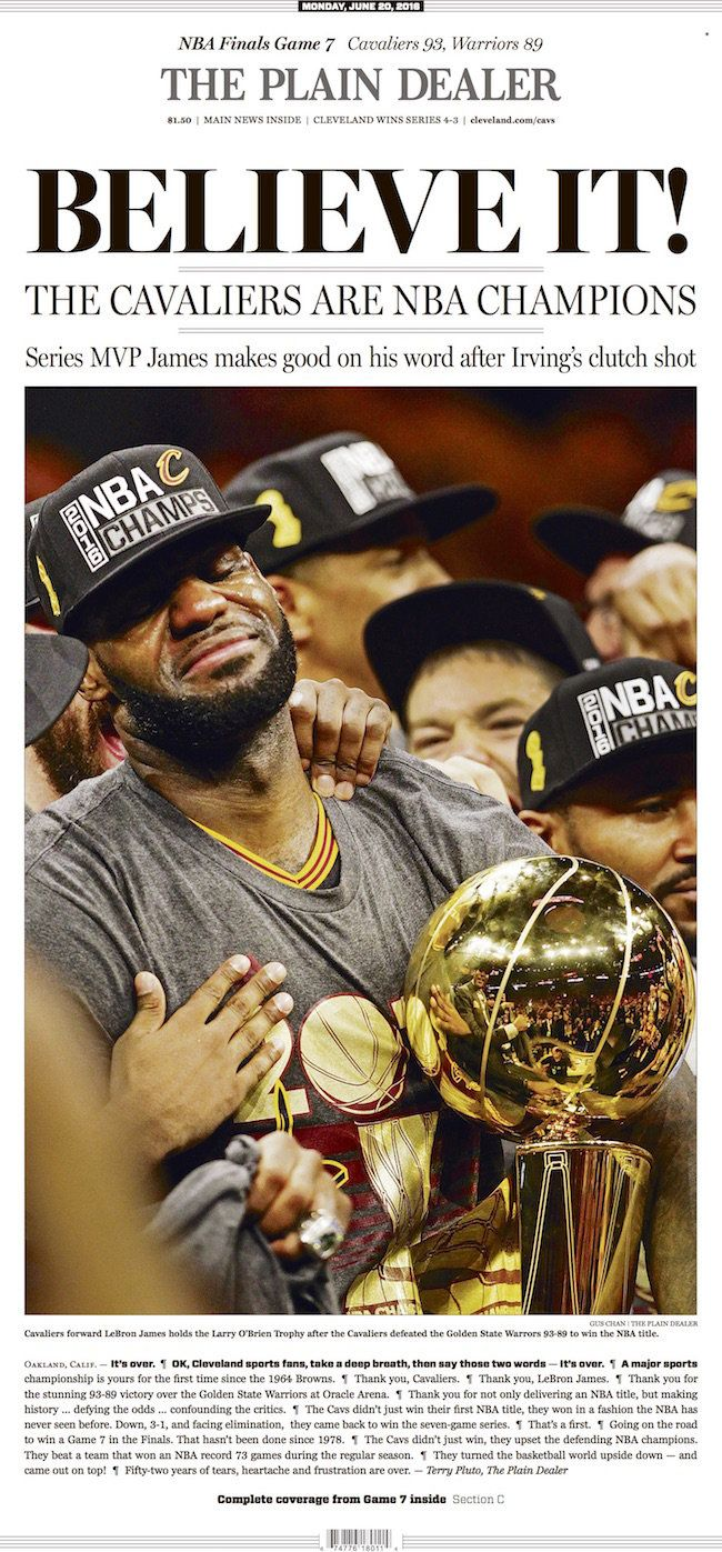 The Cleveland Cavaliers have won the 2016 NBA Championship. Check out The Plain Dealer's front page celebration.