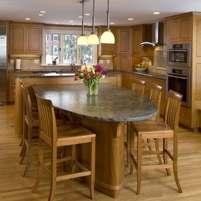 Kitchen Island Design With Attached Table