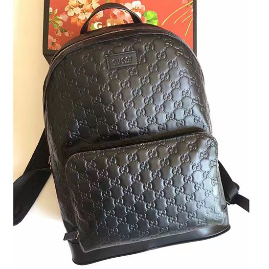 3c114e1f284 Gucci Signature Leather Backpack Black 406370
