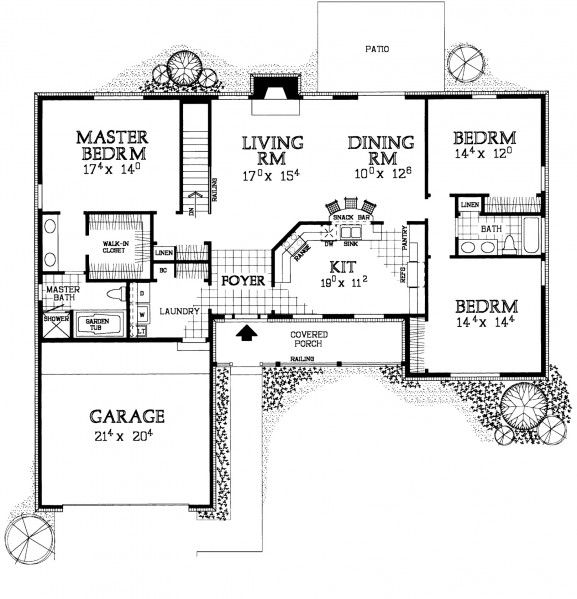 This graceful ranch house, Plan HMAFAPW00743 from Homeplans.com, is eye-catching…