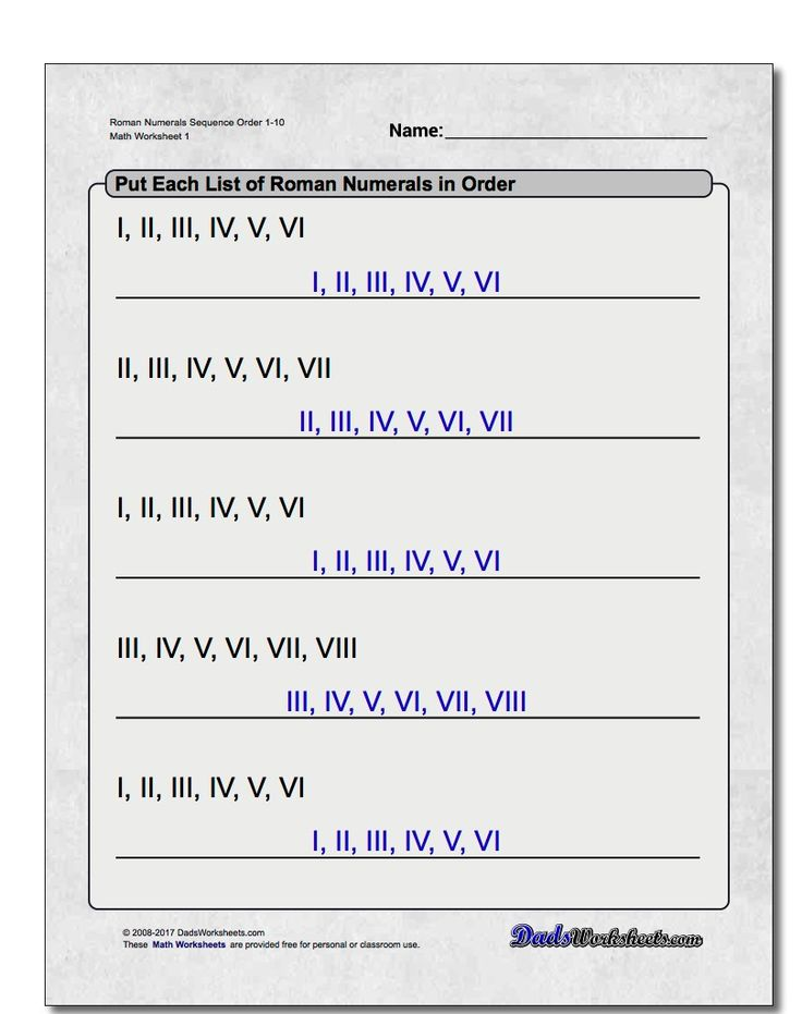 Roman Numeral Worksheets for 3rd, 4th and 5th Grade If your students need practice with Roman numerals, these worksheets provide a range of activities designed to build up skills translating Roman numerals to regular numbers and back again. Each worksheet is printable and includes an answer key.