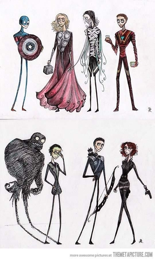 Tim Burton's Avengers. This is awesome!  I love Tim Burton!