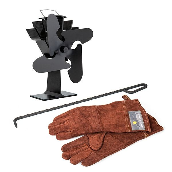 Save $40 When You Buy in a Set!    Keep your hearth warm & cozy! This hearth accessory set will help you spread the warmth of your wood-burning stove while saving you money. Set includes:     Four-Bladed Stove Fan (Model 114, Black)     Leather Hearth Gloves     Steel Fire Poker (Twisted Shaft)       Note:  These items come individually unwrapped and may ship separately.