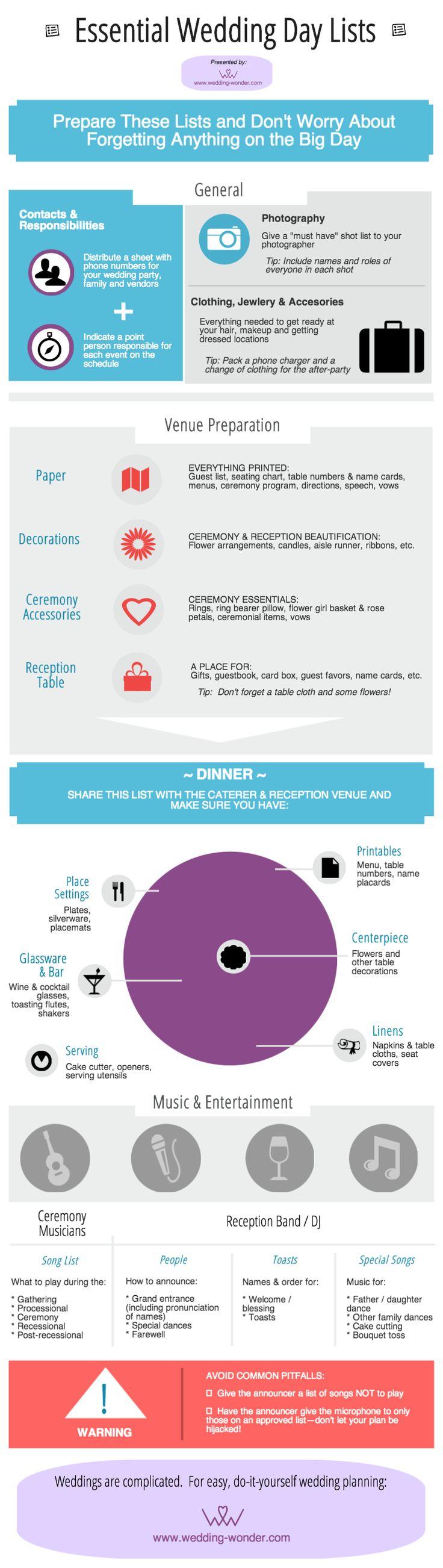 Essential Wedding Day Lists [Infographic] - Wedding Wonder