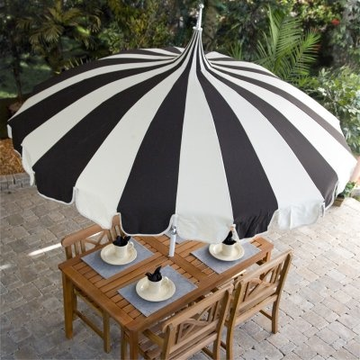 Black And White Stripe Pagoda 8.5 Ft. Patio Umbrella