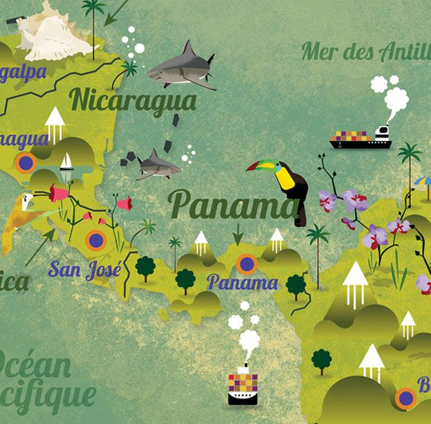 Lovely illustrated map detail of part of Central America.