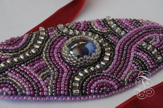 Bead Embroidery Bracelet Radiant Orchid by Fantasmat