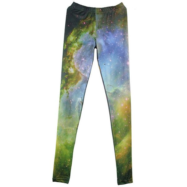 Green Galaxy Print High Waist Leggings ($46) ❤ liked on Polyvore featuring pants, leggings, bottoms, sheinside, print leggings, high-rise leggings, lycra leggings, high-waisted leggings and space print leggings