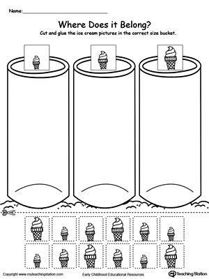 **FREE** Sort by Size: Ice Cream Worksheet. Sort the ice cream by size and place them in the small, medium or large bucket in this #sorting #printable #worksheet.
