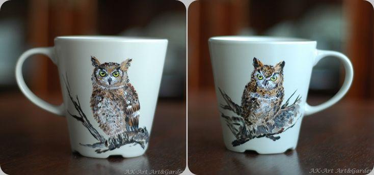 Ręcznie malowany kubek - sowy/ Hand painted mug with owls/ Handbemalter Becher mit Eulen