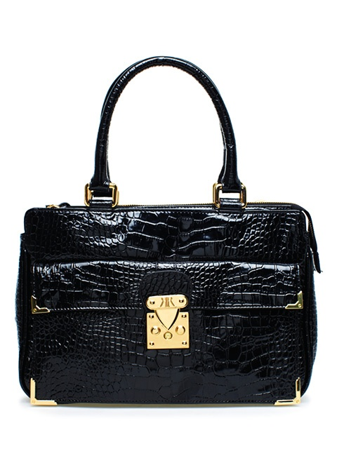 RACHAEL RUDDICK Govett Black stamped  crocodile Tote, $530