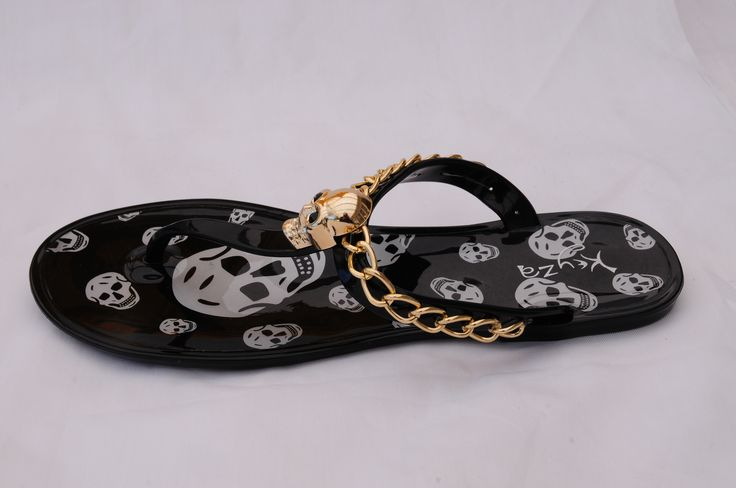 Make a statement and stand out with a pair of gold embellished skull flip flops... cute with cut off jeans or that hip skater girl skirt!